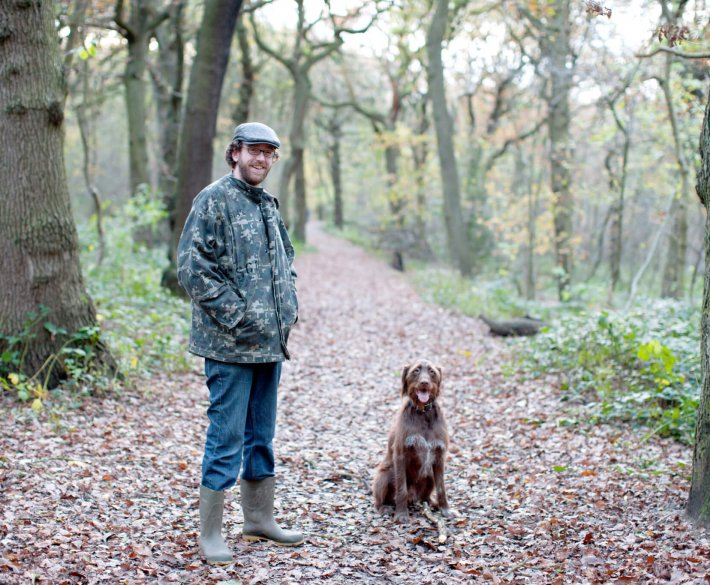 Man and Dog in Parkland
