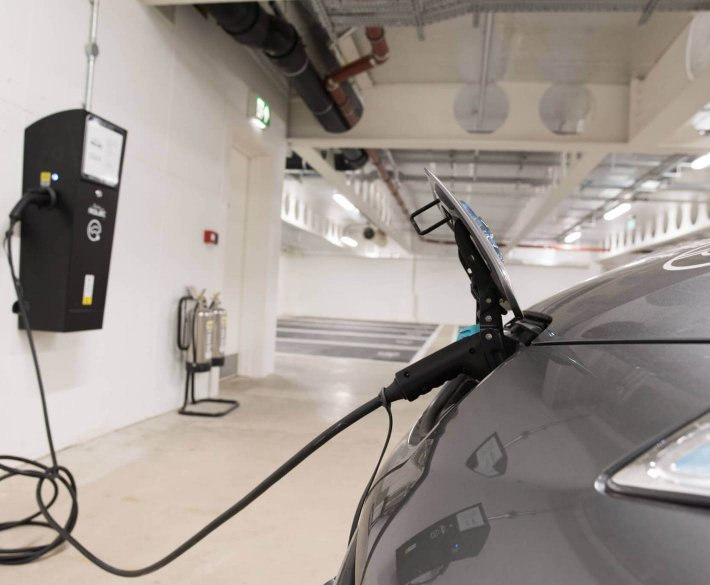 Car charging at Kirkstall Forge